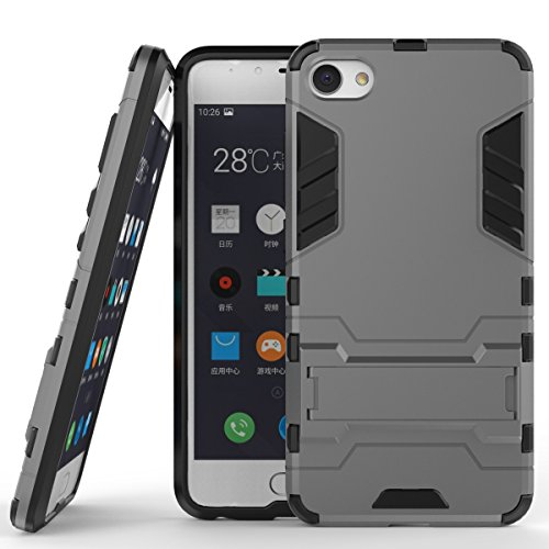 Meizu Meilan U10 Cover, 2 In 1 Neue Armor Tough Style Hybrid Dual Layer Rüstung Defender PC Hartschalen mit Standfuß Shockproof Case ​​Für Meizu Meilan U10 ( Color : Red , Size : Meilan U10 ) Gray