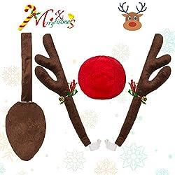 Godoboo Rentier für Auto Rentier-Verkleidung für Ihr Auto Weihnachten Elchgeweih mit Geweih und roter Nase für Auto Dekoration Kit Anzug für alle Arten von Autos