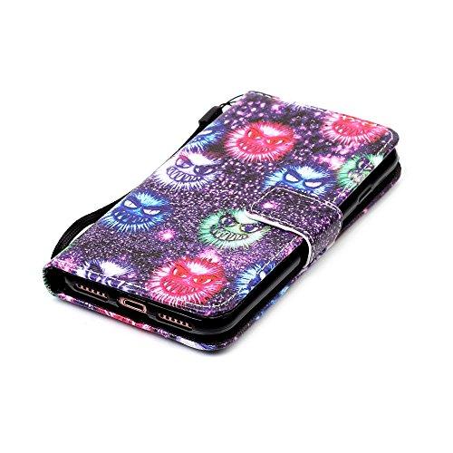 """MOONCASE iPhone 7 Étui, [Begonia] Dessin Motif Bookstyle PU Cuir Folio Housse Etui à rabat Portefeuille Case Cover avec Strap Lanière pouriPhone 7 (4.7"""") Monster"""