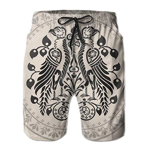 MIOMIOK Mens Beach Shorts Swim Trunks,Ethnic Heraldic Eagle Birds with Damask Floral Figures Victorian Retro Design Tan Black White,Summer Cool Quick Dry Board Shorts Bathing SuitM