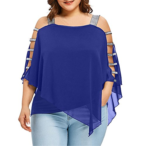 Dorical Damen Casual Übergröße Schulterfrei Tops T-Shirts Bluse Größe Größe Sexy Asymmetrisch Strand T-Shirt Hemd Tank Tops Oberteil Bluse Tees Gr XL-5XL(Blau,XX-Large)