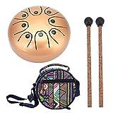 Dilwe Tambor de la Lengua, Acero Inoxidable Instrumento de Percusión Tambor de Lengua Handpan Tambor Kit con Bolsas de Mazos de Tambor(Oro)