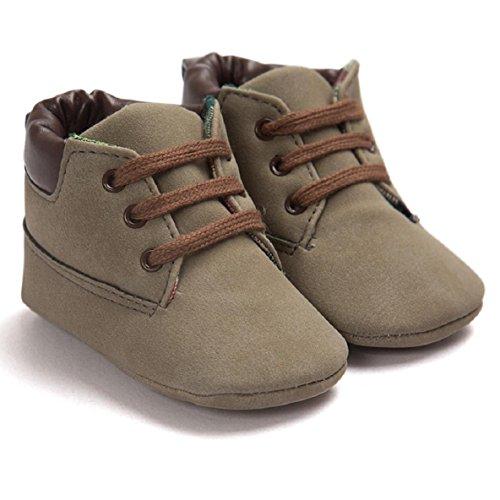 OverDose Unisex-Baby weiche warme Sohle Leder / Baumwolle Schuhe Infant Jungen-Mädchen-Kleinkind Schuhe 0-6 Monate 6-12 Monate 12-18 Monate A-Braun 3-PU Leater