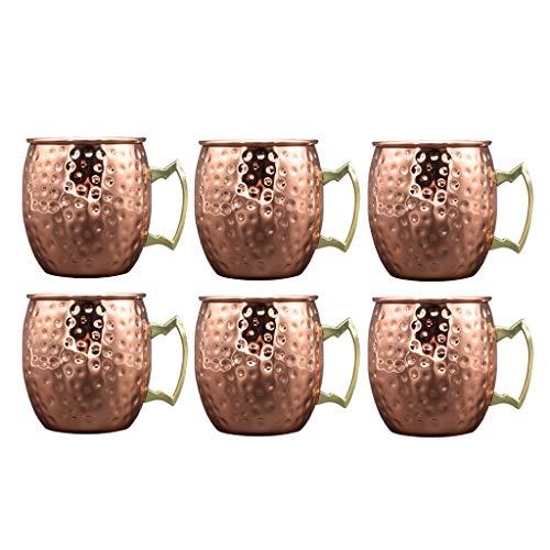 Baoblaze 6 pezzi fatti a mano in acciaio inox martellato moscow mule mug cup beer glass 530ml