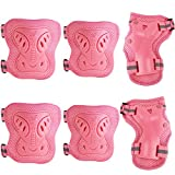 Pamase Cycling Roller Skating Knee Pads Wrist Elbow Protective Blading Blades Pad - Knee Guards Set for Adult & Child Pink S