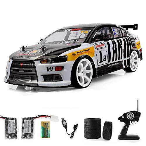 Momola RC Drift Auto Spielzeug, 4WD 1:10 2.4Ghz Fernbedienung Drift Auto RC Rennwagen,Hochgeschwindigkeit 70km/h RC Off Road Fahrzeug mit Zwei-Batterie (Schwarz)