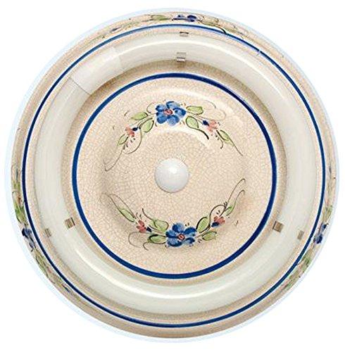 109/32/S/AZ - Plafón cerámica circular color azul, Reactancia ELECTRÓNICA, SIN TUBO - 32W