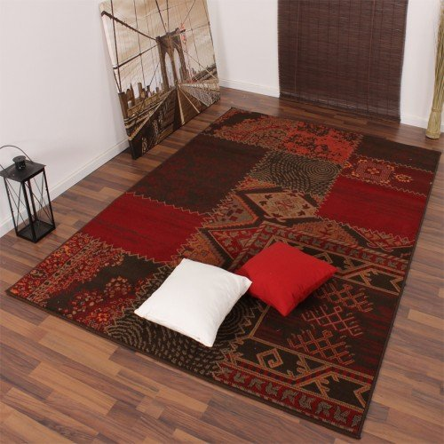 tappeto-dal-design-moderno-patchwork-rosso-marrone-grosse60x110-cm