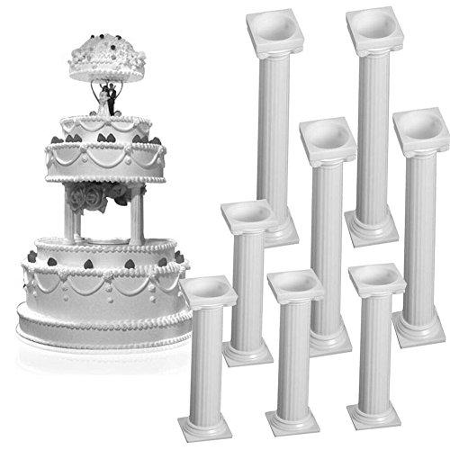 Kunststoff-Kuchen-Säulen, 8-teiliges Set, weiß, S und L, Hochzeitstortensäulenständer, Fondant-Kuchenunterstützung, für Valentinstag, Hochzeit, Geburtstag, Kuchen, Dekorations-Werkzeuge.