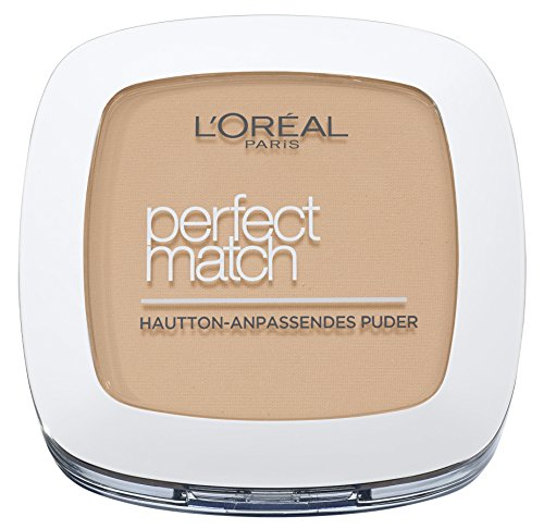 L\'Oréal Paris Perfect Match Compact Puder, W5 Golden Sand / Make Up Puder mit individueller Deckkraft und LSF, für jeden Hauttyp / 1 x 9 ml