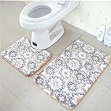 yontree 2pcs alfombra de baño y Contour WC alfombra de suelo antideslizante absorbente