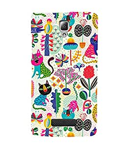 MULTICOLOURED FLOWERS AND CAT PATTERN 3D Hard Polycarbonate Designer Back Case Cover for Lenovo A2010