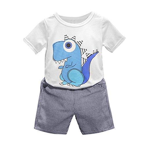 Fossen 2-6 Años Niños Verano Ropa Conjuntos Camiseta Estampada con Dinosaurio Dibujos Animados y Pantalón Corto a Rayas (2-3 Años, Blanco)