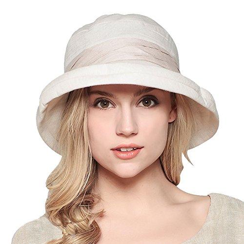 Strand Damen-hüte (Damen Sommer Strand Hat Eimer Hut Fedorahüte großer Rand-Anti-UV Sonnenhut Faltbarer Sonnenhut (Beige))