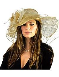 Chapeau Sinamay Derby du Kentucky à large rebord accentué d'une voile et de plumes. Produit offert par NYFASHION101.