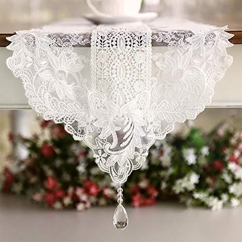 BKPH dünne Traumhafte Spitze-Tischläufer in unterschiedlichen Größen zur Dekoration des Tisches, südkoreanische Kaiserhof-Stil, weiße Blumen mit...
