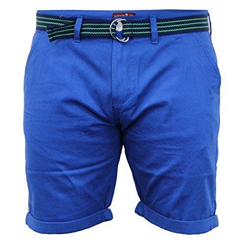 Pantaloncini Chino Da Uomo Threadbare Con Cintura Pantaloni Cotone Lunghezza Al Ginocchio Roll-up Estate Nuovo ELETTRICO - sb0517belt