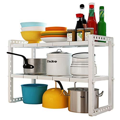 Sink under the shelf Versenkbarer, Verstellbarer Unterbau, Doppelter, Vielseitiger AufbewahrungsbehäLter Aus Kunststoff, Weiß - Verstellbarer Unterbau-regal