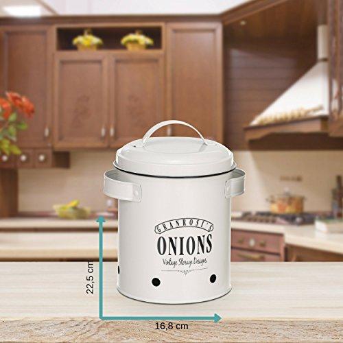 Recipiente grande con dise/ño vintage de los a/ños 40 para guardar cebollas de forma elegante Olla para cebollas GranRosi