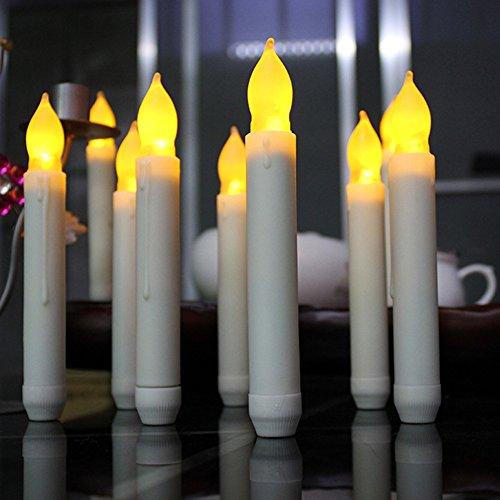 CONMING 12pcs LED velas sin llama luces parpadeantes LED cálida luz blanca de la batería luces velas falsas únicas y elegantes del diseño para la decoración del festival, banquete de boda, etc. (NO INCLUYENDO LA BATERÍA) (Grande: 16.5 * 2.0cm)