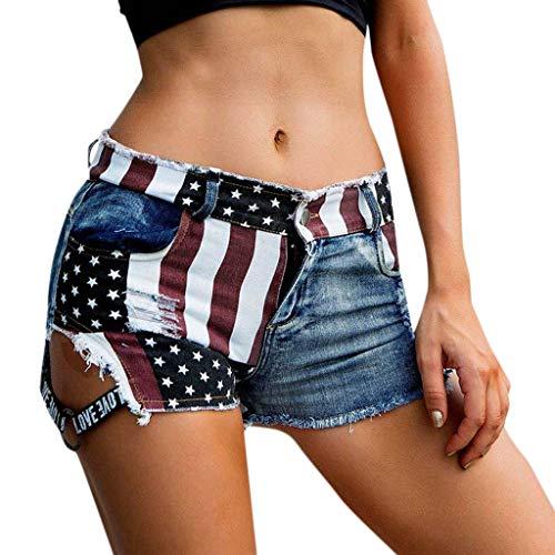 Frauen Amerika Flagge Denim Jeans Hohe Taille Loch Taschen Mini Shorts Hosen 831# Amerikanische Cowgirl Hot Pants
