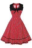 Axoe Damen 60er Jahre Polka Dot Retro Vintage Rockabilly Kleider Abendkleider Elegant für Hochzeit Rot Gr.38