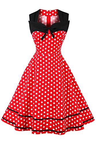 Axoe Damen 60er Jahre Polka Dot Retro Vintage Rockabilly Kleider Abendkleider Elegant für Hochzeit...