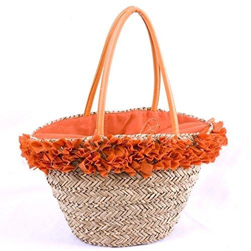 Bolso Paja Playa Con Aplicaciones tela naranja 42x 15x 26
