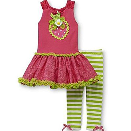 Rare Too Kinder Mädchen Sommer Tunika Tutu Kleid + Leggings Hose Erdbeere (Outfit Tutu Kitty Hello)