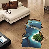 Xqi wangpu Muro Rotto 3D Pterosauri Floor/Wall Stickers per Bambini Camere Soggiorno Camera da Letto Pavimento Decorazioni per la casa Decalcomanie Wall Sticker 67X88cm
