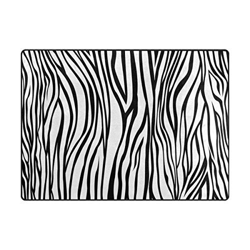 ALAZA Schwarzweiß-Zebra-Streifen-Bereich Teppich 4' x 5'3