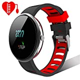 Smart Watch, LINTELEK Premium Sports Watch with Heart Rate Monitor, Black + Red