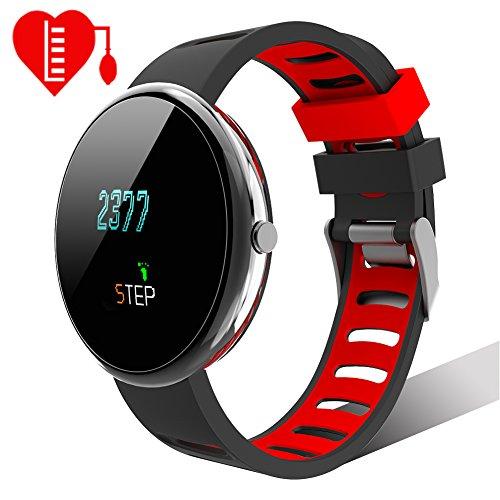 Smartwatch Multisport Fitness Uhr HR Fitness Tracker mit Touchscreen Aktivitäts-Tracker Herzfrequenz,Schrittzähler Sport Uhr Fitnessuhr Armbanduhr Withings Steel Uhrenarmband Schwarz