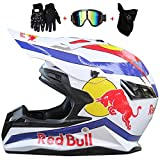 CCtoukui Red Bull Fashion Cool Off-Road Motorcycle Helm, Off-Road Locomotive Mountain Bike Racing...