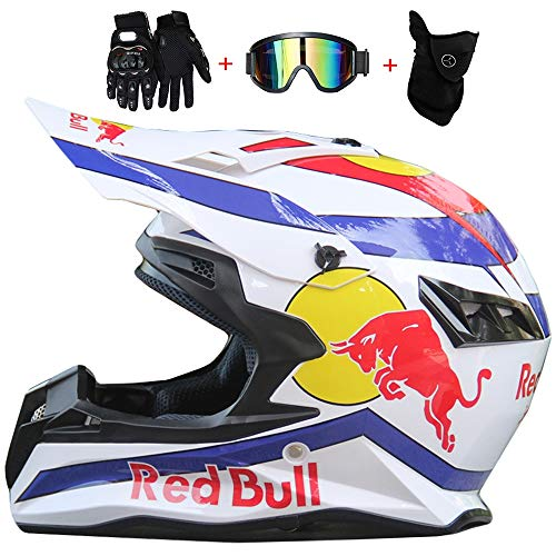 WWtoukui Red Bull Fashion Cool Off-Road Motorcycle Helm, Off-Road Locomotive Mountain Bike Racing ATV Flying Downhill Full Face Helmet, DOT Zertifizierung, Gift (Set of 4),M:54~56cm
