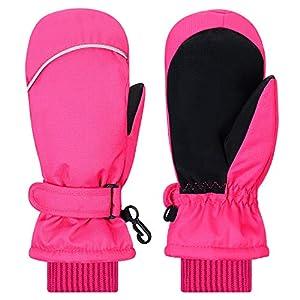 Fäustlinge Kinder, thermo Fausthandschuhe Winter handschuhe Skihandschuhe Atmungsaktive Wasserfest und Winddicht Extrem Warm Kinderhandschuhe, für Baby Jungen Mädchen 2 3 4 5 6 7 Jahre Pink Schwarz