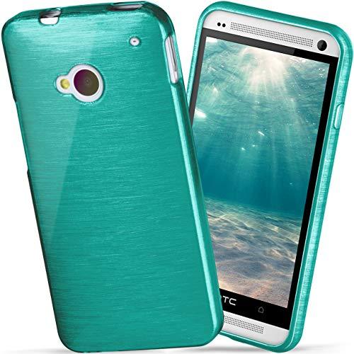 moex HTC One M7   Hülle Silikon Türkis Brushed Back-Cover TPU Schutzhülle Ultra-Slim Handyhülle für HTC One M7 Case Dünn Silikonhülle Rückseite Tasche