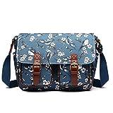 Miss LuLu Schultaschen Wachstuch Crossbody Öl-Stoff-Umhängetasche mit Drucken Unisex Vögel und Blumen Drucken (1107-16J Navy-new)