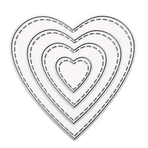 Scrapbooking Découpe Pochoir Stencil Album Coeur Matrices de découpage DIY métal de Photo Embossing Cards Décoration (forme de Coeur)