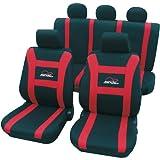 Cartrend 79-5220-02 Set completo de cubreasientos Speed, rojo, con bolsillo porta - documentos, preparado para airbag lateral