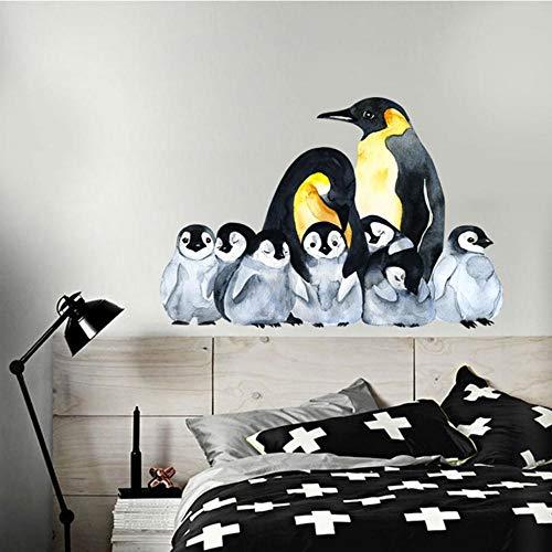 Fagreters 50Cmx75Cm Pingüino Pegatinas de pared para habitaciones de niños Moderno Nordic Decoración para el hogar Animales Acuarela Arte de la pared Pegatinas Papel tapiz Amor