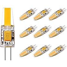 G4 3W Bombillas LED Paquete de 10, Lifebee G4 1505 COB Bombilla LED Cápsula, Blanco Cálido 3000K, Equivalente a 25W Halógeno, 200LM, AC / DC 12V-24V, No Regulable Ángulo de haz de 360 grados