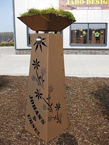 floristikvergleich.de Jabo Design Rost Säule + Schale konisch RS95 + S11 IHR EIGENER NAME/kostenloser Versand Garten Rostsäulen Blumensäule Deko Rostsäule