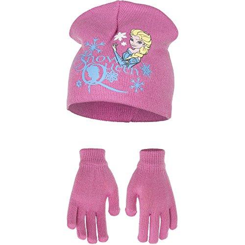 Die Eiskönigin Frozen Mädchen Kinder Winter Mütze und Handschuhe Set (52 cm Kopfumfang, rosa)