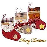 ToullGo - Sacchetto Regalo con Calze di Natale, 3 Pezzi, Decorazione Natalizia, Pupazzo di Neve e Renna