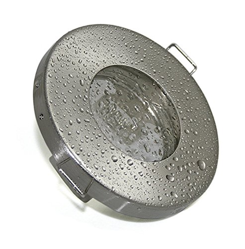Badezimmer Einbaustrahler IP65 | Edelstahl gebürstet | Rund | Ohne Leuchtmittel | Geeignet für LED und Halogenleuchtmittel mit 49mm-51mm Durchmesser | GU10 und MR16 Fassung inklusive | Bad Einbauleuchte Feuchtraum Nassraum Dusche Pool Sauna