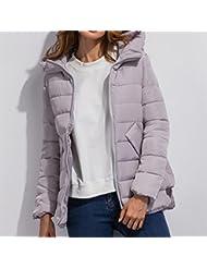 ZQQ Señoras Trajes de estilo occidental largo flaco grueso invierno cálido algodón de manga larga con capucha algodón chaqueta , gray , xxl