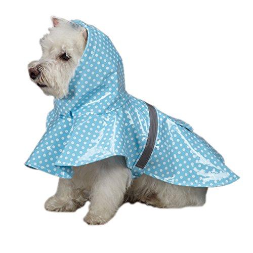 East Side Collection PU und Polyester Polka Dot Hund Regen Jacke, 20,3cm, XX-Small, Blau -