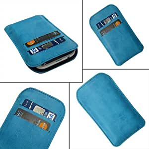 i-KitPit Quality PU Leather Pouch Case Cover For Motorola Droid Maxx (SKY BLUE)