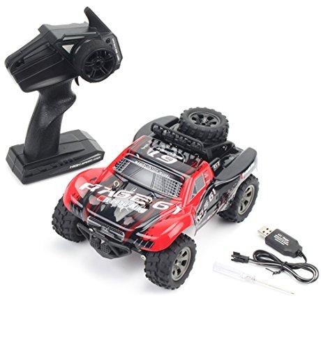 CFZHANG Elektro RC Auto Offroad Fernbedienung 1:18 Bigfoot Kurzes Pickup-Modell 2,4G Fernbedienung Funksteuerung Für Kinder und Erwachsene, Red (Amp-1-geschwindigkeiten-motor)